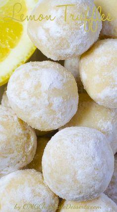 White Chocolate Lemon Truffles | OMGChocolateDesserts.com | #chocolate #truffles #lemon #desserts