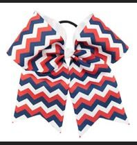 red-white-and-blue cheer bow♡ perf for the 4th♡