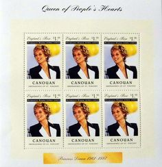 """Princess Diana """"Queen of People's Heart"""" Plate Block of 6 Stamps Issued by Canouan, Diana - Princess of Wales 1961 - 1997."""