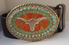 Mosaic Belt Buckle  Texas Longhorn Turquoise and by camillaklein, $80.00