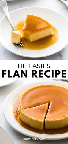 Easy Flan Recipe {Only 5 Ingredients!} - Isabel Eats - - An easy flan recipe made with only 5 simple ingredients! This creamy custard dessert is topped with caramel and popular in Mexico, Spain and Latin America. Mini Desserts, Custard Desserts, Easy Desserts, Delicious Desserts, Yummy Food, Homemade Desserts, Health Desserts, Pudding Au Caramel, Caramel Flan