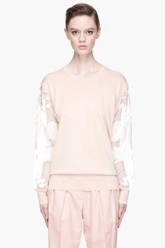 CHLOE Pale pink sheer floral sleeve blouse