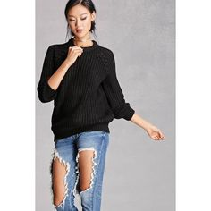 Forever21 Twelve Ribbed Knit Sweater (3,205 INR) ❤ liked on Polyvore featuring tops, sweaters, long tops, longline sweater, raglan sweater, long sweaters and raglan top