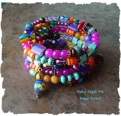 Boho Bracelet Colorful Bohemian Bracelet Layered by BohoStyleMe