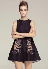 Black+Sleeveless+Cats+Print+Tank+Dress+$55