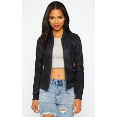 Lorde Black PU Bomber Jacket ($39) ❤ liked on Polyvore