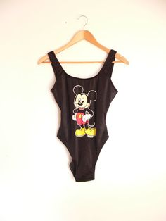 Retro Black MICKEY MOUSE One Piece Swimsuit Vintage