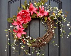 This Spring Wreath Summer Wreath Floral White Branches Door Wreath Grapevine Wreath Decor-Pink Lilies-Pink Peony Wispy Easter-Mothers Day is just one of the custom, handmade pieces you'll find in our wreaths shops. Wreath Crafts, Diy Wreath, Grapevine Wreath, Wreath Ideas, White Wreath, Boxwood Wreath, Hydrangea Wreath, Valentine Day Wreaths, Easter Wreaths