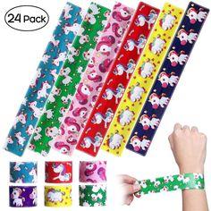 IBASETOY 6Pcs Unicorn Print Slap Bracelets Circle Wristbands Party Favors Goody Bag Toys for Kids Boys Girls