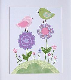 Nursery Art, Baby Girl Art Decor, Children's Art, Kids Wall Art, Birds, Flowers, Flower Garden Girls, 8x10 Art Print.