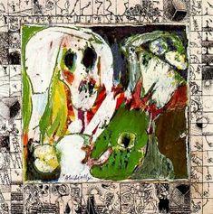 Pierre Alechinsky La Jeune fille et la Mort (1966-67) Acrylique et encre de Chine (prédelle) sur papier marouflé sur toile (137 x 137)