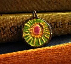 Colorful Abstract Ceramic Pendant On Silk by JeraLunaDesigns, $20.00