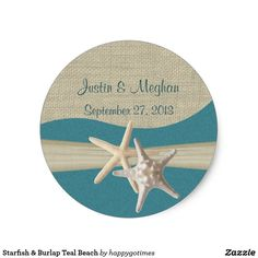 Starfish & Burlap Teal Beach Classic Round Sticker
