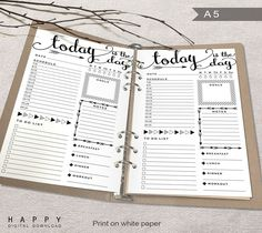 Printable Arrows A5 Daily Planner Inserts, A5 Bullet Journal – Happy Digital Download