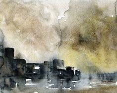 Abstract City Landscape watercolor giclée reproduction. Landscape/horizontal orientation. Printed on fine art paper using archival pigment inks. This quality printing allows over 100 years of vivid co