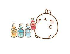 Molang with sodas Hamster Kawaii, Chibi Kawaii, Kawaii Doodles, Cute Doodles, Kawaii Art, Pikachu Pikachu, Kawaii Drawings, Cute Drawings, Cute Images