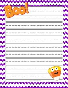 Halloween lined writing paper! Larger lines for younger writers! The post Halloween Writing Paper FREEBIE appeared first on Paper Diy. Halloween Math, Halloween Activities, Halloween Songs, Holiday Activities, Holiday Writing, Thanksgiving Writing, Kindergarten Freebies, Kindergarten Writing, Literacy