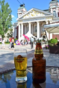 Stopping for a Bulgarian beer in front of the National Theater - Sofia, Bulgaria..