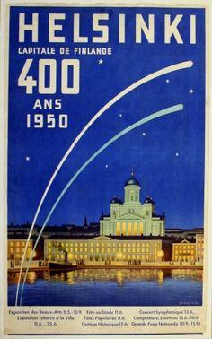 Helsinki Capital of Finland Scandinavia Vintage Travel Art Poster Print Retro Poster, Poster Ads, Poster Vintage, Vintage Travel Posters, Vintage Ads, Poster Prints, Retro Print, Ski Posters, Railway Posters