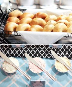 Breakfast with Tiffany Themed Baby Shower...pattern mixing & bagel bar