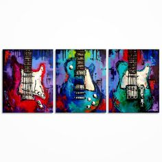 Guitar painting Music art Gift for Musician Guitar by MagdaMagier