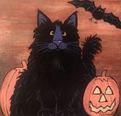Cat-Halloween-Black-Cat-pympkin-5-x-5-canvas-magnet-acrylic-by-Pryjmak