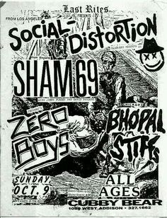 SOCIAL DISTORTION, SHAM 69, ZERO BOYS and BHOPAL and THE STIFFS