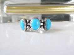 Vintage Sterling Silver Sleeping Beauty Turquoise Sand Cast Ring Size 9 Mens? #Handmade #ThreeStone #NativeAmericanJewelry #ArizonaTurquoiseRing #NativeRing