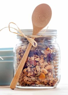 Holiday Spice Granola! Oats, almonds, cashews, cranberries, and dried apricots spiced with cinnamon, ginger, and cloves. Great homemade gift or special holiday treat!