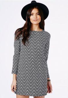 Kicia Monochrome Chevron Shift Dress - Dresses - Shift Dresses - Missguided