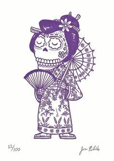 """20 September 2010 :: """"Geisha Calavera"""" by Jose Pulido. Gocco screenprint."""