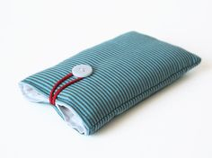 iPhone case handmade cover turquoise strips fabric mobile phone bag 3G, 3GS, 4, 4S, 5