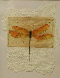 """""""Tea Bag Treasure's"""" Suzanne LeLoup-West """"Dragonfly"""" Suzanne@suzannes-art-studio.com handmade paper 8""""×10"""" framed (sold)"""
