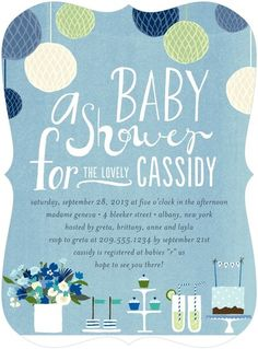 Precious Party: Lapis - Baby Shower Invitations in Lapis | Petite Alma