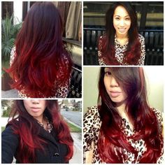 Black & Red Ombre Hair Color http://www.jexshop.com/
