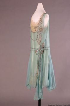 Peggy Hoyt evening dress of turquoise silk georgette over aqua crepe-backed satin with rhinestone applied bows, circa 1928