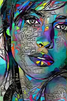 Abstract Portrait Painting, Abstract Face Art, Acrylic Artwork, Painting Of Girl, L'art Du Portrait, Female Portrait, Female Art, Portraits Pop Art, Graffiti Wall Art