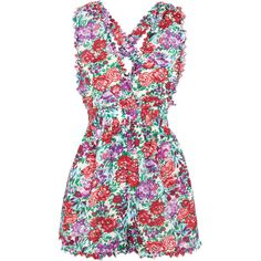 Zimmermann Verano floral-print cotton-blend voile playsuit (730 PEN) ❤ liked on Polyvore