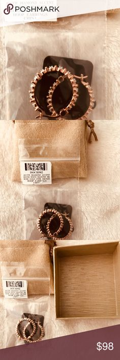 Rose Gold and Diamonds Accented Hoops mid size These are GORGEOUS!  The only thing that will Ever touch your ears is rose gold!!!!  The diamonds look bigger than they are and these shimmer with class.  BNIBWT Jewelry Earrings