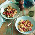 Pasta with Sausage & Red Grapes (Epicurious) - I saw this recipe in a magazine several months ago. It is really, really, really good! Red grapes burst to make a nice and flavorful glaze over the pasta and sausage.