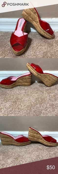 "Via Spiga Red Patent Leather Cork Wedge Sandals Bright red patent leather slip on sandals with a cork wedge bottom . 1"" platform 3.25"" heel. Leather upper balance man made . Via Spiga Shoes Wedges"