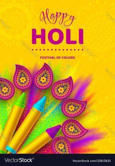 Happy holi colorful design for festival of colors vector image on VectorStock Happy Holi Gif, Happy Holi Wishes, Happy Diwali, Holi Wishes Images, Happy Holi Images, Holi Festival Of Colours, Holi Colors, Holi Pichkari, Happy Holi Picture