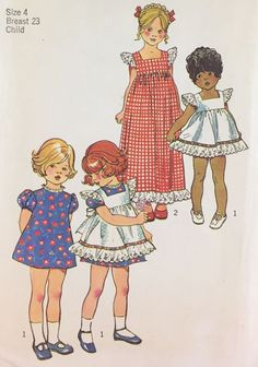 Vtg 1970s Simplicity 5534 Pattern Girls Pinafore & Puff Sleeve Dress Size 4