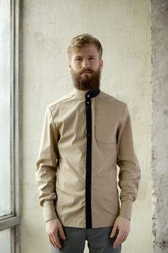 Long sleeve shirt in khaki colour I'M a spaceman by imyourshirt, $143.00