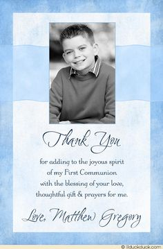 Small Photo Communion Boy Thank You Design