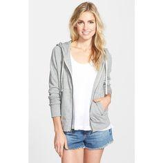 James Perse Classic Zip Front Hoodie (1.530 NOK) ❤ liked on Polyvore featuring tops, hoodies, heather grey, raglan sleeve top, drawstring hoodie, zip-front hoodie, raglan top and zip front hoodies