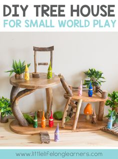 Read how we made our DIY tree house for small world play featuring DIY fairy furniture fences trees bridges and ladders! Perfect for Waldorf Reggio inspired play using chopping boards and cutting boards from Kmart and IKEA. Play hacks for children! Fairy Tree Houses, Cool Tree Houses, Diy Tree, Wooden Tree House, Beautiful Tree Houses, Tree House Designs, Small World Play, Diy Cutting Board, Fairy Furniture