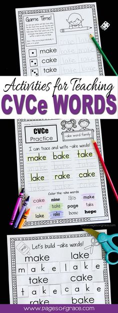 Add some fun to your literacy centers and word work time with this CVCe activities packet! Great for preschool, kindergarten, and first grade phonics lessons, guided reading groups, intervention, homework. 3 printables for each word family. Worksheets for 23 long vowel word families.