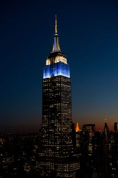 April 19, 2015: As one of the longest running all-news radio stations in the country, 1010 WINS has been part of New Yorkers' lives for half a century! The Empire State Building broadcasts lights of blue, gold and white across the city to honor their 50th anniversary.