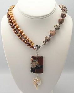 Leopardskin jasper and pearl handmade necklace